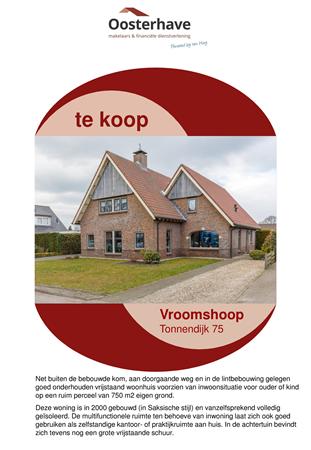 Brochure preview - VERKOOPBROCHURE TONNENDIJK 75 VROOMSHOOP.pdf