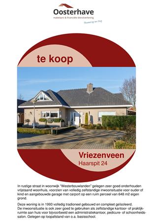 Brochure preview - VERKOOPBROCHURE HAARSPIT 24 VRIEZENVEEN.pdf