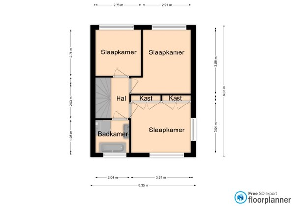 Floorplan - Hatendonkstraat 10, 5807 AM Oostrum