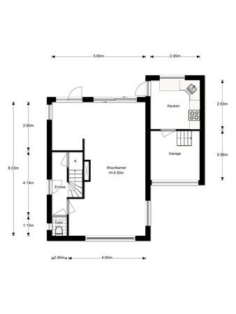 Floorplan - Willem van Abcoudelaan 2b, 1391 CD Abcoude