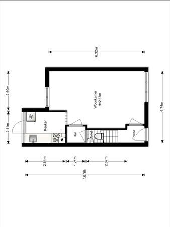 Floorplan - Waalstraat 219, 3522 SH Utrecht