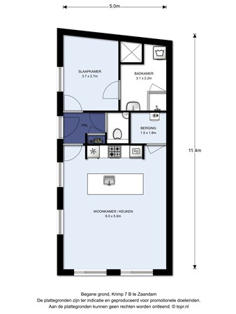 Floorplan - Krimp 7B, 1506 AA Zaandam