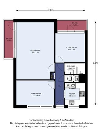 Floorplan - Leverkruidweg 5, 1508 WB Zaandam