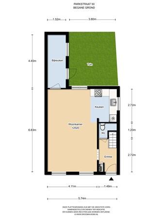 Floorplan - Parkstraat 50, 1544 AR Zaandijk