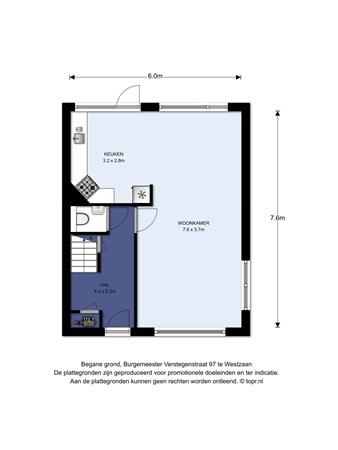 Floorplan - Burgemeester Verstegenstraat 97, 1551 TC Westzaan