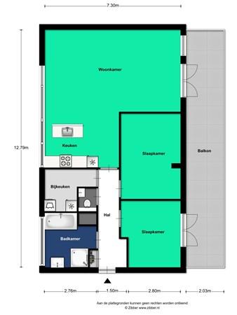 Floorplan - Pablo Picassostraat 166, 3544 NX Utrecht