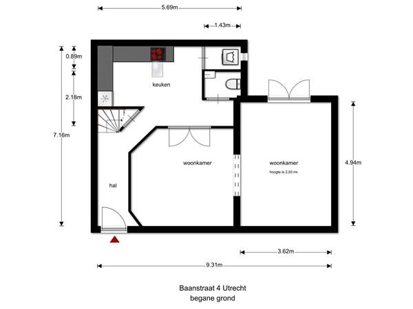 Floorplan - Baanstraat 4, 3581 VV Utrecht
