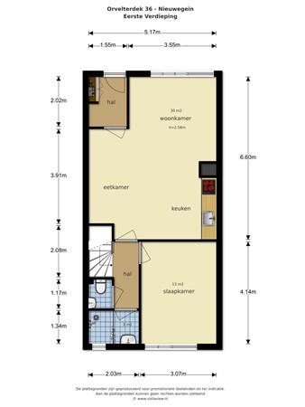 Floorplan - Orvelterdek 36, 3432 EK Nieuwegein