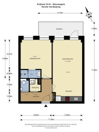 Floorplan - Krijtwal 33-8, 3432 ZT Nieuwegein