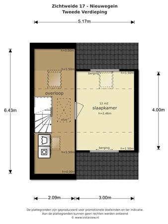 Floorplan - Zichtweide 24, 3437 XG Nieuwegein