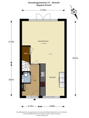 Floorplan - Grevelingenstraat 17, 3522 PP Utrecht