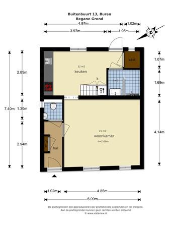 Floorplan - Buitenbuurt 13, 4116 CD Buren