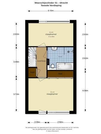 Floorplan - Weerschijnvlinder 51, 3544 DT Utrecht