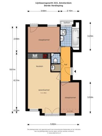 Floorplan - Lijnbaansgracht 222, 1017 PH Amsterdam