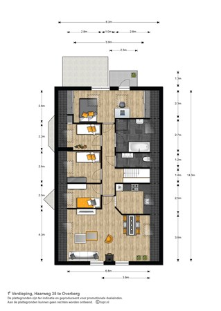 Floorplan - Haarweg 35, 3959 AM Overberg