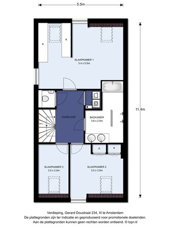 Floorplan - Gerard Doustraat 234III, 1073 XC Amsterdam
