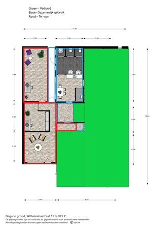 Floorplan - Wilhelminastraat 31, 6881 LH Velp