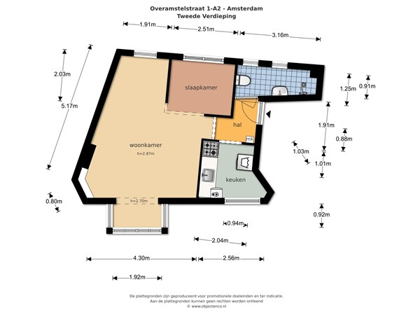 Floorplan - Overamstelstraat 1A-II, 1091 TL Amsterdam