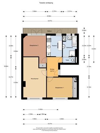 Floorplan - Admiraal de Ruijterweg 349II, 1055 MA Amsterdam