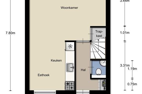 Floorplan - Utrechtsestraat 61, 6811 LW Arnhem