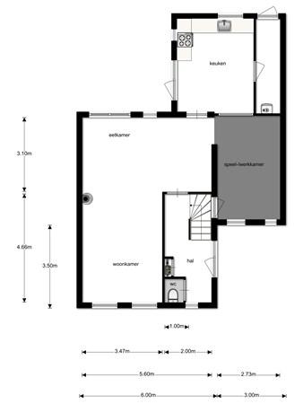 Floorplan - Boomstraat 50, 5482 ER Schijndel