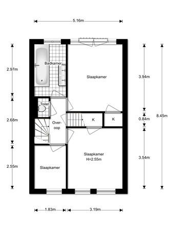 Floorplan - Rollandslaan 23, 2015 GB Haarlem