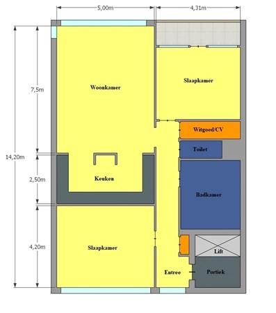 Floorplan - Piusplein 25-03, 5038 WL Tilburg