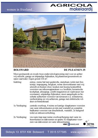 Brochure preview - bolsward, de pleatsen 35, brochure