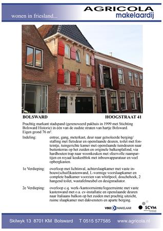 Brochure preview - bolsward, hoogstraat 41, brochure