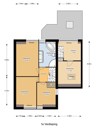 Floorplan - Blauwe Huis 17, 4153 CX Beesd
