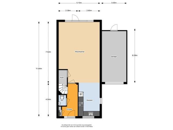 Floorplan - Achterste Kamp 2, 3751 JJ Bunschoten-Spakenburg