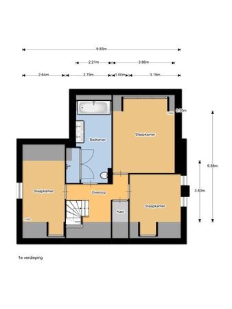 Floorplan - Prins Clausstraat 1, 3751 DN Bunschoten-Spakenburg