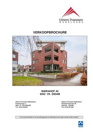 Brochure preview - brochure mariahof 40 te didam