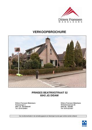 Brochure preview - brochure pr. beatrixstraat 52 te didam