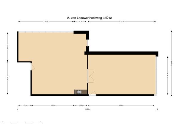 Floorplan - A. van Leeuwenhoekweg 38D12, 2408 AN Alphen aan den Rijn