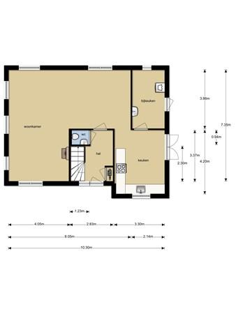 Floorplan - Tielsestraat 73, 4021 HB Maurik