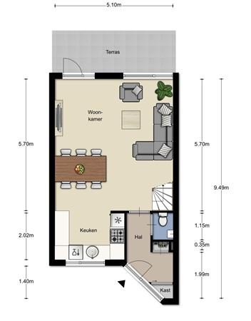 Floorplan - Dalkruid 50, 5731 TM Mierlo