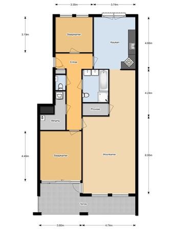 Floorplan - Schoolstraat 2F, 6581 BG Malden