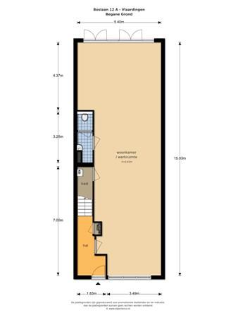Floorplan - Boslaan 12A, 3134 XD Vlaardingen