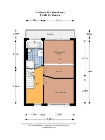 Floorplan - Sportlaan 94, 3135 GW Vlaardingen