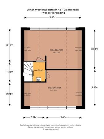 Floorplan - Johan Westerweelstraat 43, 3132 BB Vlaardingen