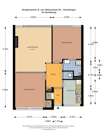 Floorplan - Burgemeester A. van Walsumlaan 83, 3135 WE Vlaardingen