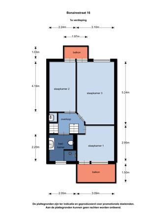 Floorplan - Bonairestraat 16, 2405 EZ Alphen aan den Rijn