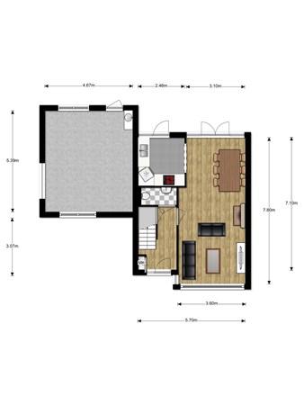 Floorplan - Wilgenoord 19, 2411 TC Bodegraven