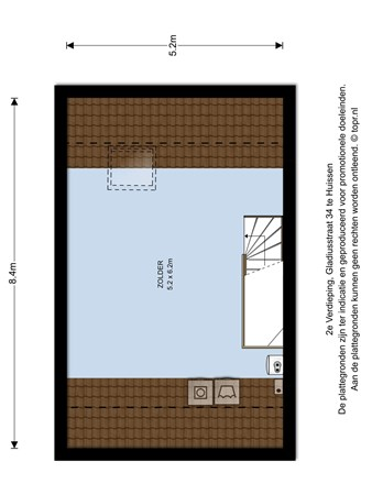 Floorplan - Gladiusstraat 34, 6852 SB Huissen