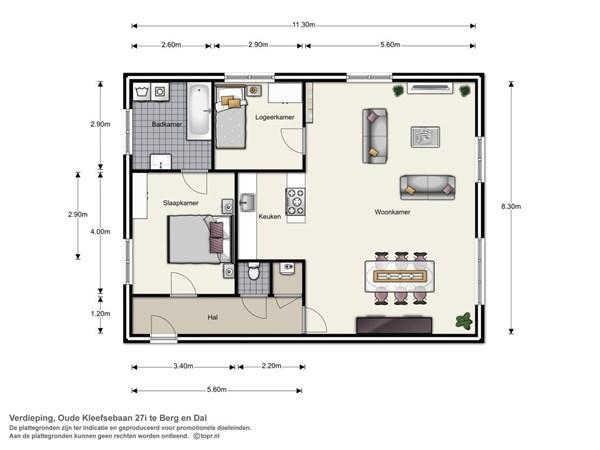 Floorplan - Oude Kleefsebaan 27i, 6571 BD Berg en Dal
