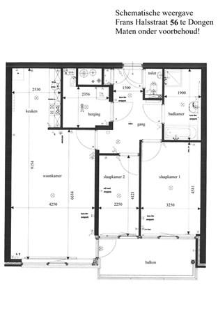 Floorplan - Frans Halsstraat 56, 5102 DH Dongen
