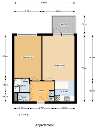 Floorplan - Krijtwal 17-25, 3432 ZT Nieuwegein