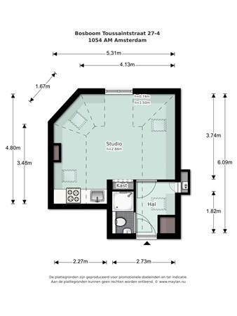 Floorplan - Bosboom Toussaintstraat 27-4, 1054 AM Amsterdam