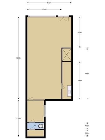 Floorplan - Tolberterstraat 12a, 9351 BG Leek